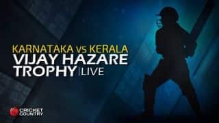 KAR 51/1 | Overs 5.5 | Live Cricket Score, Vijay Hazare Trophy 2015-16, Karnataka vs Kerala, Group B match at Bengaluru: Karnataka win by 9 wickets; gain 4 points