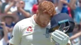 Watch Bairstow 'headbutt' his helmet after scoring maiden Ashes century