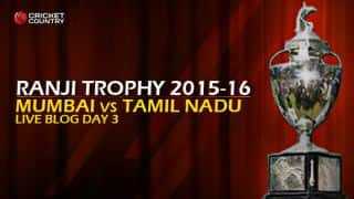 TN 73/7   Live Cricket Score, Mumbai vs Tamil Nadu, Ranji Trophy 2015-16, Group B match, Day 3 at Mumbai: At stumps, TN lead by 213 runs