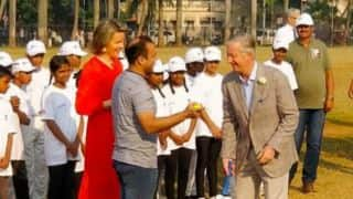 Virender Sehwag plays cricket with King Philippe, Queen Mathilde of Belgium