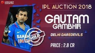IPL 2018 Auction: Gautam Gambhir returns to Delhi Daredevils (DD)
