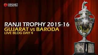 BAR 207, trail by 46 │ Live Cricket Score, Gujarat vs Baroda, Ranji Trophy 2015-16, Group B match, Day 4 at Valsad: Hosts pull off innings and 46-run win