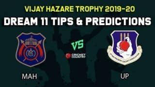 Dream11 Team Maharashtra vs Uttar Pradesh, Round 3, Elite Group B Vijay Hazare Trophy 2019 VHT ODD – Cricket Prediction Tips For Today's Match MAH vs UP at Vadodara