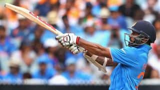 Shikhar Dhawan dismissed for 9 by Jerome Taylor against West Indies in ICC Cricket World Cup 2015
