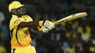 Dwayne Smith dismissed for 57 by Harbhajan Singh against Mumbai Indians in IPL 2015 Final