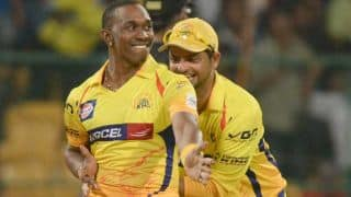 Ravi Bopara dismissed for 6 by Dwayne Bravo against Chennai Super Kings in IPL 2015