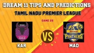 Dream11 Team Karaikudi Kaalai vs Madurai Panthers Match 26 TNPL 2019 TAMIL NADU T20 – Cricket Prediction Tips For Today's T20 Match KAR vs MAD at Tirunelveli