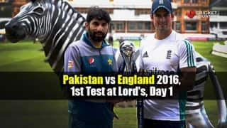 PAK 282/6, 87 overs | Pakistan (PAK) vs England (ENG) 2016 Live Cricket Score, 1st Test, Day 1 at Lord's: Get updates on live score and ball-by-ball commentary for Pakistan's tour of England:  Misbah scores ton on Lord's debut