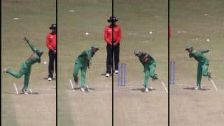 Bangladesh's Shaila Sharmin bowls with both arms against Pakistan in ICC Women's World Cup Qualifier 2017