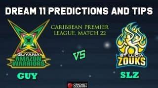 Dream11 Team Guyana Amazon Warriors vs St Lucia Zouks Match 22 Caribbean Premier League 2019 – Cricket Prediction Tips For Today's T20 Match GUY vs SLZ at St Lucia