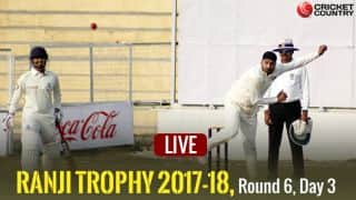LIVE Cricket Scores, Ranji Trophy 2017-18, Round 6, Day 3