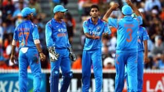India tour of New Zealand 2014, 3rd ODI at Auckland: Jesse Ryder dismissed by Bhuvneshwar Kumar