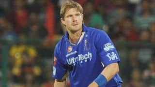 Shane Watson's hat-trick restricts Sunrisers Hyderabad to 134/9 against Rajasthan Royals in IPL 2014