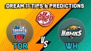 Dream11 Team Toronto Nationals vs Winnipeg Hawks Match 7 GT20 CANADA 2019 GLOBAL T20 CANADA – Cricket Prediction Tips For Today's T20 Match TOR vs WH at Brampton