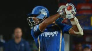 Deepak Hooda dismissed for 15 by Ravindra Jadeja against Chennai Super Kings in IPL 2015