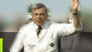 Harold 'Dickie' Bird officiates for the last time in a Test match