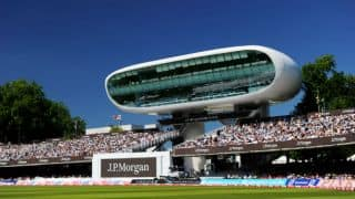 Lord's Cricket Ground's Father Time takes a fall