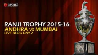 Andhra 202/4 I Live Cricket Score, Andhra vs Mumbai, Ranji Trophy 2015-16, Group B match, Day 2 at Vizianagaram: End of day's play