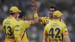 Kedar Jadhav dismissed for 20 by Ravichandran Ashwin against Chennai Super Kings in IPL 2015