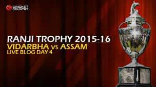 VID 215/7 | Live cricket score, Vidarbha vs Assam, Ranji Trophy 2015-16, Group A match, Day 4 at Jamtha, Nagpur: Vidarbha won by 3 wickets
