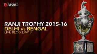 BEN 47/3 | Live cricket score, Delhi vs Bengal, Ranji Trophy 2015-16, Group A match, Day 3 at Feroz Shah Kotla, Delhi: At stumps, BEN lead by 155 runs