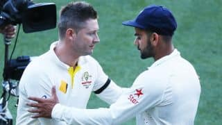 Virat Kohli congratulates Michael Clarke on an excellent Test career