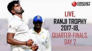 Live Cricket Scores, Ranji Trophy 2017-18, quarter-finals, Day 2: Karnataka, Delhi on top; Gujarat, Vidarbha fightback