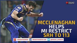 Mitchell McClenaghan's clinical spell helps Mumbai Indians restrict Sunrisers Hyderabad to 113 in IPL 2015