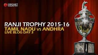 Live Cricket Score, Tamil Nadu vs Andhra Pradesh, Ranji Trophy 2015-16 Group B match Day 3 at Chennai: Play called off due to rain