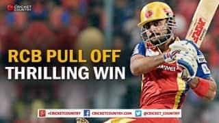 Virat Kohli, Chris Gayle set up nail-biting win for Royal Challengers Bangalore over Sunrisers Hyderabad in IPL 2015 Match 52