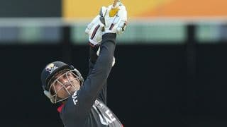 Anwar plays a rare shot during his knock of 106 vs Ireland in ICC Cricket World Cup 2015