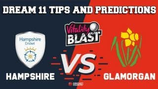 Dream11 Team Hampshire vs Glamorgan South Group VITALITY T20 BLAST ENGLISH T20 BLAST – Cricket Prediction Tips For Today's T20 Match HAM vs GLA at Cardiff
