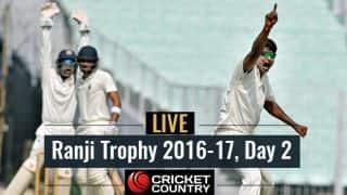 रणजी ट्रॉफी 2016-17 के तीसरे रॉउंड के दूसरे दिन का लाइव स्कोर