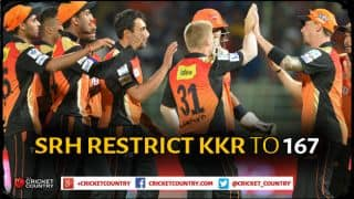SRH spinners restrict KKR to 167 for 7 in IPL 2015, match 38