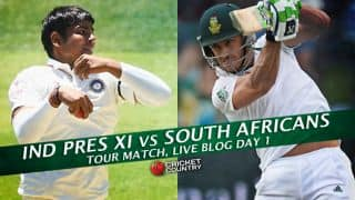 SA 46/2 in Overs 8.2 | Live Cricket Score Indian Board President XI vs South Africa 2015, 2-day practice match at Mumbai: IBPXI lead by 250 runs