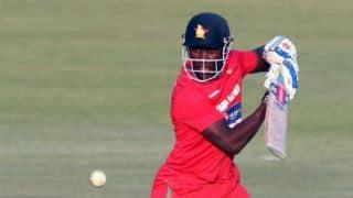 Bangladesh vs Zimbabwe 2014, 1st ODI at Chittagong: Zimbabwe skipper Elton Chigumbura dismissed by Bangladeshi counterpart Mashrafe Mortaza; Zim 153/6