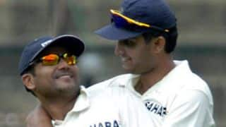 Virender Sehwag hugged Sourav Ganguly after scoring 1st Test hundred