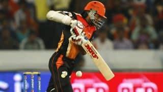 Sunrisers Hyderabad lose the wicket of Naman Ojha against Kolkat Knight Riders in IPL 2014