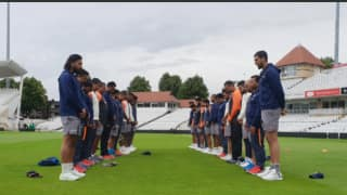 Indian team observes two-minute silence to condole the sad demise of Ajit Wadekar