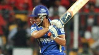 Unmukt Chand dismissed in Rajasthan Royals vs Mumbai Indians, IPL 2014