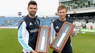 James Anderson, Joe Root presented special bats for record 10th wicket stand in Test cricket