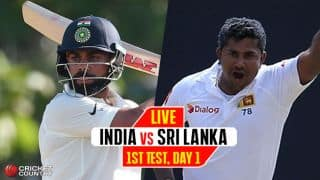 Live Cricket Score, India Men vs Sri Lanka Men, 1st Test, Day 1: IND end Day 1 on a high