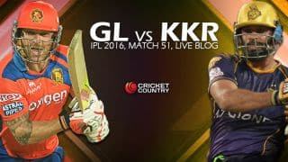 GL 125/4 in 13.3 overs | Live Cricket Score GL vs KKR 2016, Match 51 at Kanpur: GL win by 6 wickets