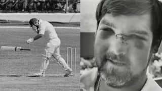 Mike Gatting's nose gets pulped by a vicious bouncer from Malcolm Marshall