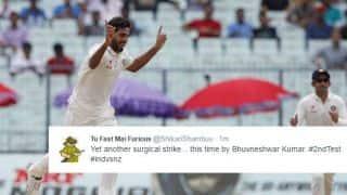 Bhuvneshwar Kumar runs through New Zealand batting with his first fifer in India: Twitter reactions