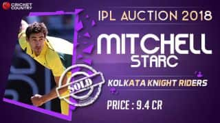 IPL 2018 Auction: Mitchell Starc sold to Kolkata Knight Riders (KKR) for INR 9.4 crores