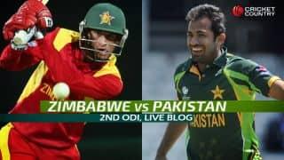 PAK 256/8   48 Overs   Live Cricket Score Pakistan vs Zimbabwe 2015, 2nd ODI at Harare: Hosts win by 5 runs (D/L method)