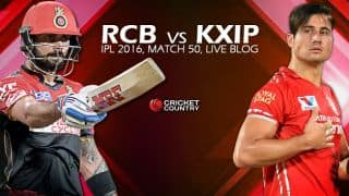 KXIP 120/9,14 Overs, Live Cricket Score Royal Challengers Bangalore vs Kings XI Punjab 2016, Match 50 at Bengaluru: RCB win by 82-runs with D/L method