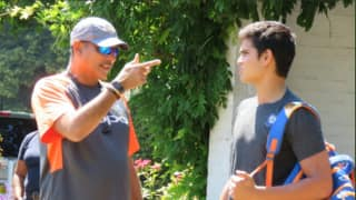 Arjun Tendulkar practise with Indian team, Coach Ravi Shastri gave tips to young pacer