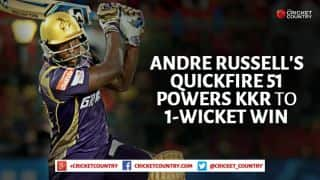 Andre Russell powers Kolkata Knight Riders to 1-wicket win over Kings XI Punjab in IPL 2015, Match 44